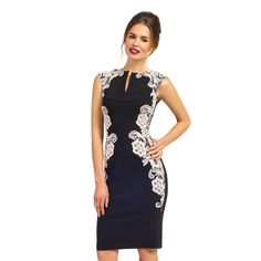 This stunning dress in red or black features a v-neck and sleeveless style. A white lace design adorns the sides with an Eastern ambiance.