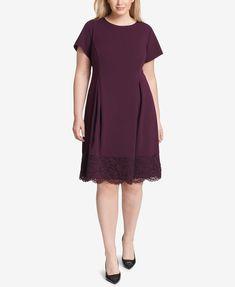 840e3e4d2fe Robbie Bee Plus Size Lace Handkerchief-Hem Dress - Black 1X in 2018 ...