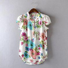 Women's - Floral Dress Blouse