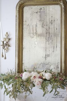 french decor White and Blush Christmas Decor Inspiration: Beautiful floral styling and an antique mirror adorn this French vintage fireplace vignette for the holidays. French Country Christmas, French Country Cottage, French Country Style, French Country Decorating, Coastal Cottage, Modern Country, Country Chic, Cottage Christmas Decorating, French Country Fireplace