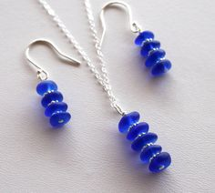 Cobalt Blue Sea Glass Stacked Necklace and Earrings Set by OceanCharmsSeaGlass