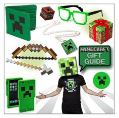 """""""Minecraft Gift Guide!"""" by whirlypath ❤ liked on Polyvore featuring Bow & Arrow, men's fashion and menswear"""