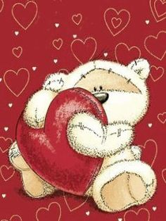 Teddy Bear Holding a Big Red Heart:
