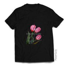Pink Tulips T shirt #tshirt #tshirts #clothing #fashion #blacktees #flowerdesign #printedtees