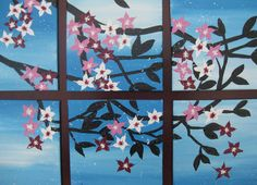 Small cherry blossom painting set of 9 canvases - small original unique blue and pink paintings on canvas trees wall  light dark