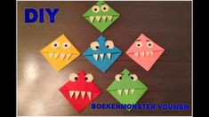 Hi Hi, Here I show you how to make a book monster (bookmark). It is a very easy technique but that is why it is so much fun to make. Bookmark Craft, Bookmarks, Diy And Crafts, Crafts For Kids, Paper Crafts, Monster Bookmark, Class Decoration, Origami Art, Oragami