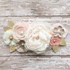 Flower Baby Headband Rustic Wedding Hairpiece by candybuttonusa