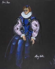 Costume Sketch of Bette Davis as Queen Elizabeth I in the 20th Century Fox Production, 'The Virgin Queen' | LACMA Collections