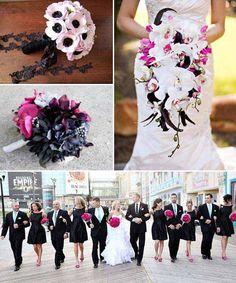 brautstrauss-pink-brautstraeusse-bilder-fotos-beispiele http://www.optimalkarten.de/blog/schwarz-und-pink-hochzeitsthema-idee/