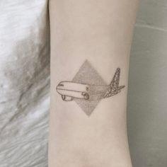 Dotwork and Geometric Airplane Tattoo by tattooist_baka