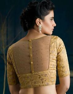 Beautiful Blouse Neck Designs Images Source by designs Indian Blouse Designs, Blouse Designs High Neck, Simple Blouse Designs, Stylish Blouse Design, Bridal Blouse Designs, Latest Saree Blouse Designs, Golden Blouse Designs, Netted Blouse Designs, Cotton Saree Blouse Designs