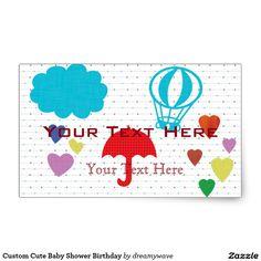 Custom Cute Baby Shower Birthday Rectangular Sticker