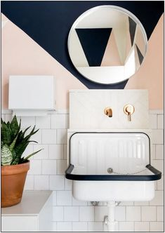 105 a modern, otherwise monochrome home has a precious pink guest washroom 49 | Pointsave.net