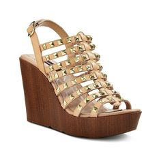 Women's Betseyville Lola Gladiators ($40) ❤ liked on Polyvore featuring shoes, sandals, natural, wedge sandals, leather gladiator sandals, leather sandals, strap sandals and studded sandals