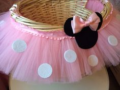 Medium Minnie Mouse Themed Tutu Basket by MissMadelynsBows on Etsy