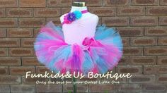 Hot Pink Aqua and purple Tutu skirt  with by FunkidsandUsBoutique