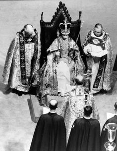 Her royal highness Queen Elizabeth II takes the throne after receiving the crown, scepter and rod from the Archbishop of Canterbury at Westminster on June 2, 1953. The coronation ceremony was the first service of its kind to be televised. More than 27 million people are said to have tuned in.