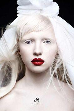 Beautiful albino Russian model Nastya Zhidkova