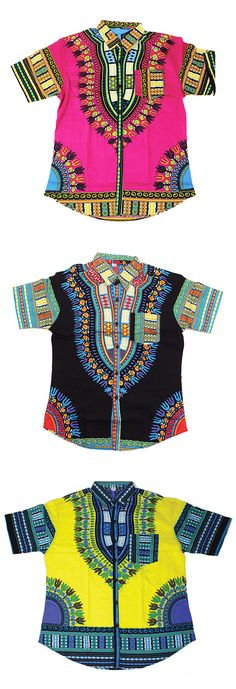 Traditional Short-Sleeve African Style Dress Shirt - These brightly colored African shirts are adorned with intricate African patterns.  Each shirt is covered in African style patterns in bright colors like yellow, pink, turquoise, black, and hot pink.  Perfect dressy casual shirt for going out with the guys or wearing to a Black History Month event.  #blackhistorymonth #africa #african #blackhistory #mensfashion #mensstyle #classyman #fashion #style #shirt #neon #colorful #pattern