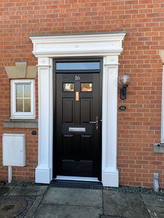 Rockdoor Regency in Black with Plain Glass and a Contemprary Knocked fitted in Derby Black Front Doors, Exterior Front Doors, Garage Doors, Composite Door, Love Is Gone, Regency, Wall Design, Derby, Arch