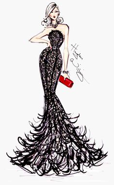 #Hayden Williams Fashion Illustrations  #Golden Globe Couture by Hayden Williams.