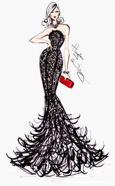 #Hayden Williams Fashion Illustrations  #Golden Globe Couture by Hayden Williams.