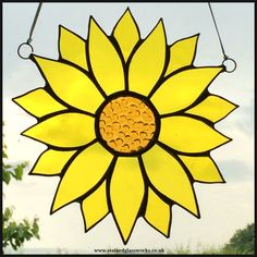 Stained glass sunflower window hanging.