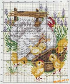 Cross stitch chicken and chicks Rooster Cross Stitch, Chicken Cross Stitch, Cute Cross Stitch, Cross Stitch Animals, Cross Stitch Designs, Cross Stitch Patterns, Cross Stitching, Cross Stitch Embroidery, Embroidery Patterns
