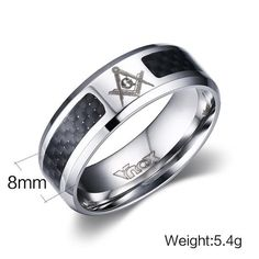 New Giving /& Taking 12mm Heavy Masonic Tungsten Carbide Ring Signet Us Size 8-13
