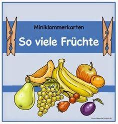 Klammerkarten zu Früchten        Nachdem euch die Miniklammerkarten zum Gemüse so gut gefallen haben, habe ich gleich noch einen Schwung Mi...