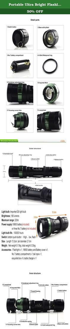 Portable Ultra Bright Flashlight ,OUTERDO LED Flashlight Mini Flashlight Waterproof Hiking Torches Outdoor Flashlight For Cycling Climbing Camping Fishing and Walking. Product Information: ●Name: Q5 LED Rechargeable Flashlight ●Material: Aluminum Alloy ●Net Weight: 0,13 kg ●Total weight 0.33kg ●Color: as picture show ●Size: 13.3 * 2.7cm ●Brightness: 180 Lumens ●Light source: Q5 lamp life, 100 thousand per hour ●The distance from maximum range: approx 220m ●Zoomable: Yes ●Waterproof: yes...