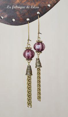 Boucles d'oreille perle en céramique et pompon chaine