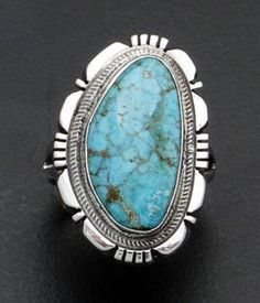 Navajo - Turquoise Cut & File Sterling Silver Ring Size 7.5 #37475 $135.00