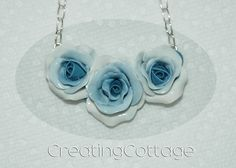 Blue Rose Necklace handmade by CreatingCottage.  #BlueRose  Great to wear with #bluejeans