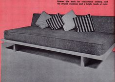 DIY tutorial on how to make a mid-century modern daybed from the 1961 edition of the Mechanix Illustrated How- To-Do-It Encyclopedia