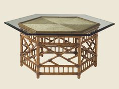 Shop for Tommy Bahama Home Key Largo Cocktail Table With Glass Top, and other Living Room Tables at Elite Interiors in Myrtle Beach, SC. Simplicity meets paradise with this rich colored hexagon coffee table. Brown Furniture, Rattan Furniture, Table Furniture, Rattan Chairs, Western Furniture, Furniture Hardware, Furniture Styles, Hexagon Coffee Table, Rattan Coffee Table