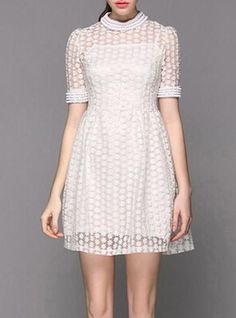 4e2fe44157 Vintage Stand-Up Collar Half Sleeve Beaded Flower Pattern Women s Dress