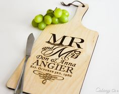 Personalized Cheese Board Wood Engraved Serving Board ~ Weddings, Engagement…