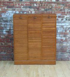Triple Industrial Mid Century French Oak Tambour Front Cabinet 1940s