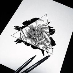 drawing, flowers, and negative space artwork