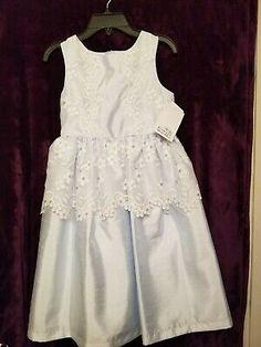 NWT Mini Boden Peach Dress Cream Floral Overlay Birthday Wedding Party SZ 7//8