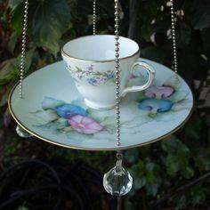 Teacup Bird Feeder vintage morning glory pink blue floral china repurposed