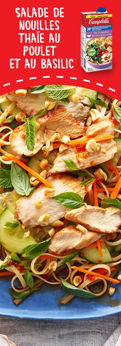 Thai Chicken and Basil Noodle Salad Recipe Turkey Recipes, Chicken Recipes, Dinner Recipes, Asian Recipes, Healthy Recipes, Ethnic Recipes, Campbells Soup Recipes, Noodle Salad, Soup And Salad