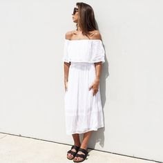 The gorgeous new @steele__ 'Melinda' Shirred Dress in White also available in Navy | RG via @saint_bowery  #steele #steelemelbourne #steelelabel #lookbookboutique #lookbook #newarrivals #photography #model #awfashion16 #awfashion #awfashion #ootd #ootn #instore #ontrend #outfit #offshoulder #streetfashion #streetstyle #streetwear #boho #bohochic #bohemianstyle