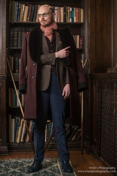 Heavy yet Cozy Maroon Coat. Scarzza's shiny navy Oxford's   Model: Tristan