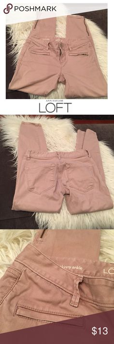 Ann Taylor LOFT Modern Skinny Ankle Jeans Ann Taylor LOFT Modern Skinny Ankle Jeans. 6.75 inch rise, low rise. 27 inch inseam. Ankle zippers. Color is a pale pink. Great condition. Feel free to make an offer or bundle & save! LOFT Jeans Ankle & Cropped