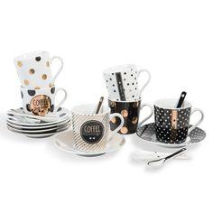 Set 6 tazze e piattini in porcellana GRAPHIK