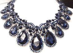 Gorgeous sapphire blue crystal glass & rhinestone bridal runway necklace