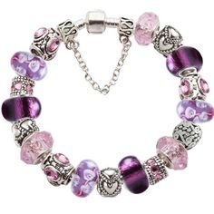 Elite Completed Love European Charm Bracelet w CZ Silver Murano Glass Beads | eBay