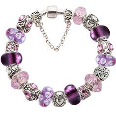 Elite Completed Love European Charm Bracelet w CZ Silver Murano Glass Beads | eBay